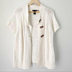 Cream White Cardigan Kimono Short Sleeve Sweater